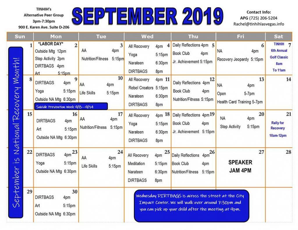 APG Schedule September 2019
