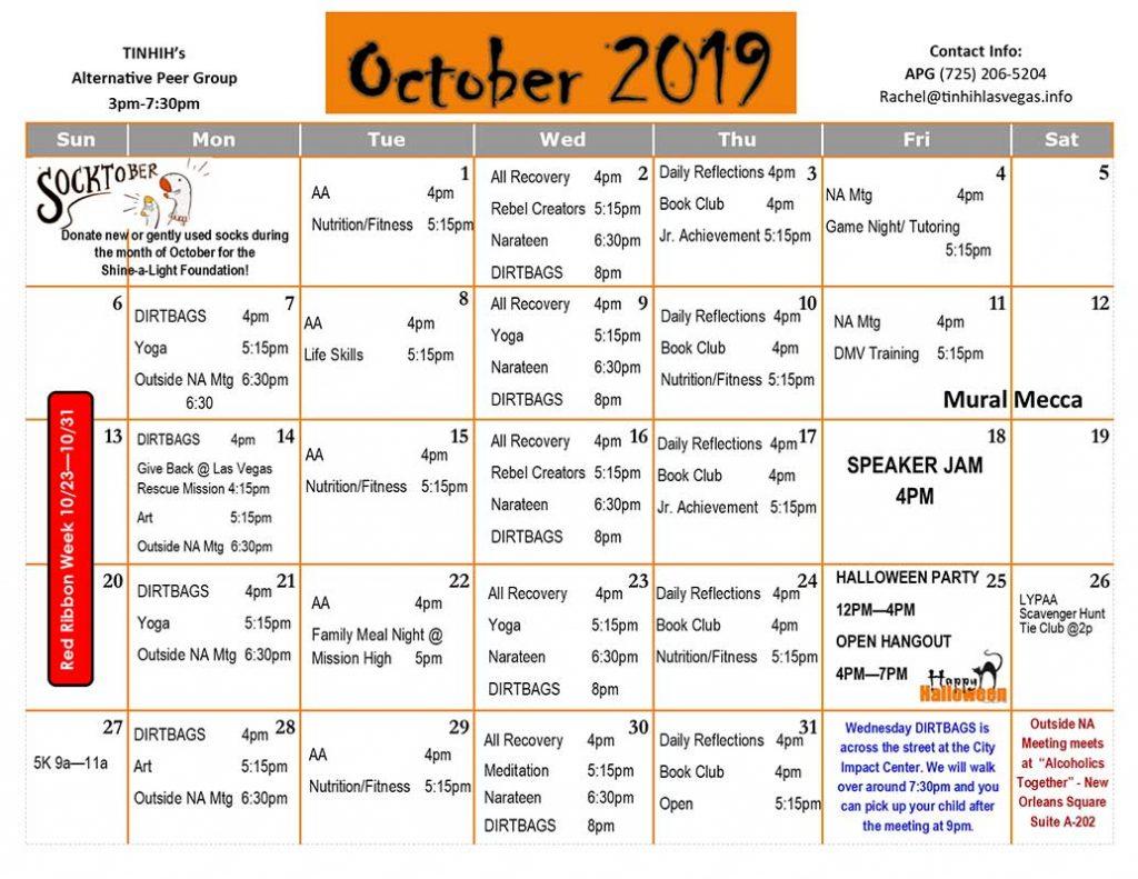 APG Schedule October 2019