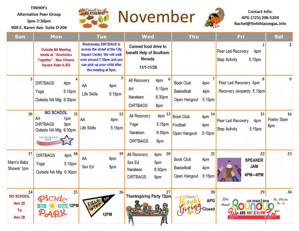 APG Schedule November 2019