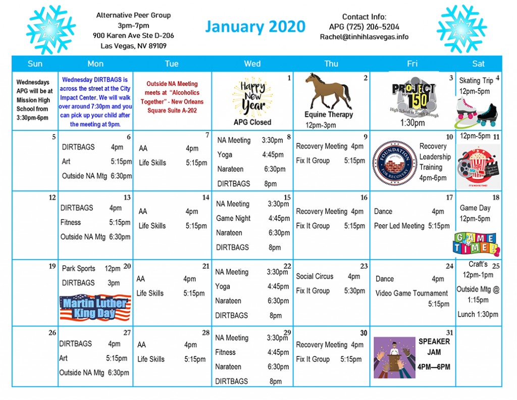 APG Schedule January 2020