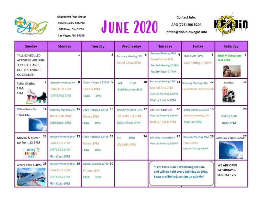 APG Schedule June 2020