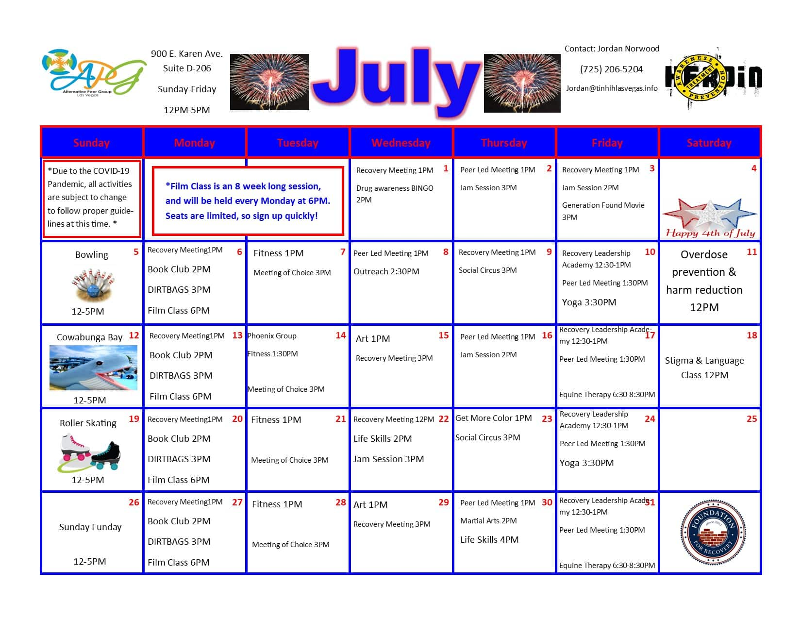 APG Schedule July 2020