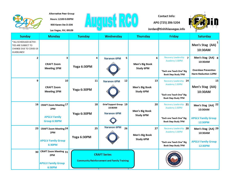August RCO Calendar 2020