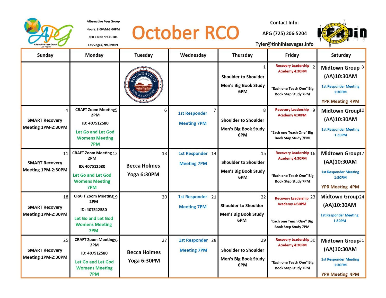 TINHIH RCO Schedule October RCO 2020