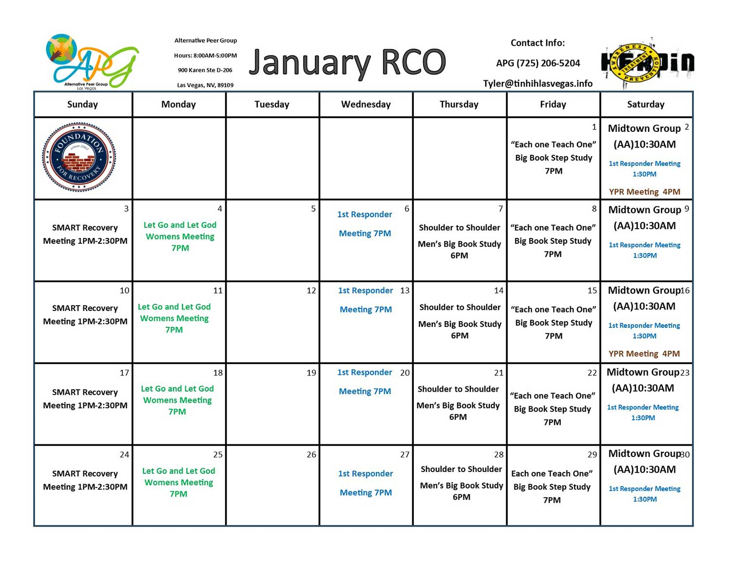 APG RCO Schedule January 2021