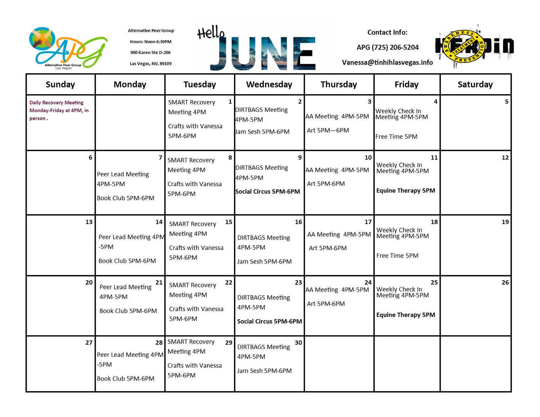 APG Schedule June 2021