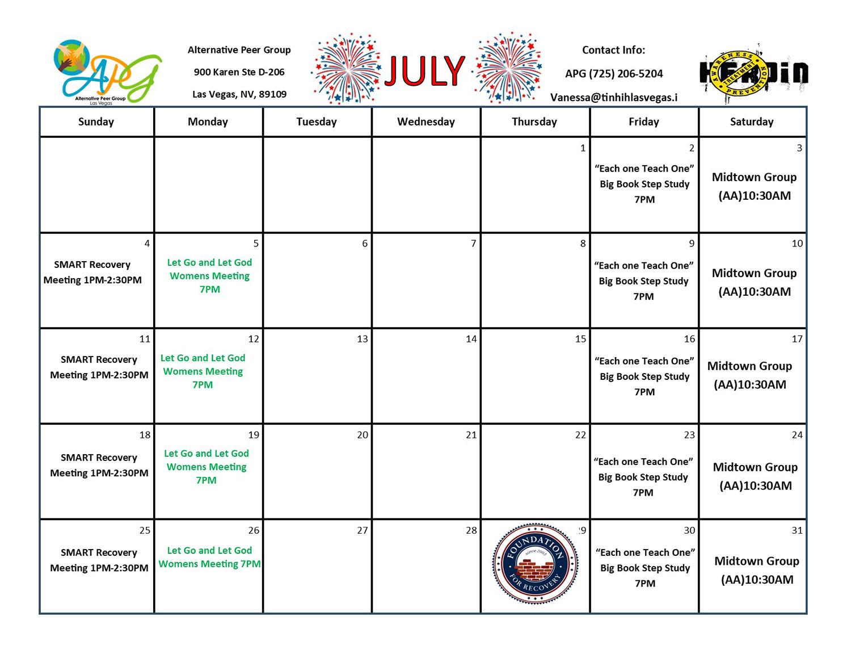 APG RCO Schedule July 2021