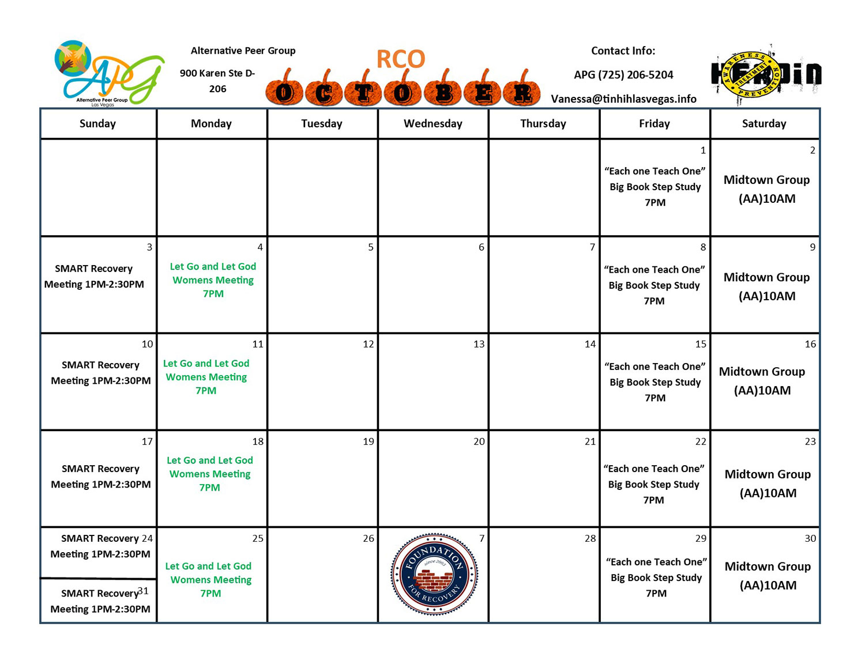 APG RCO Schedule October 2021