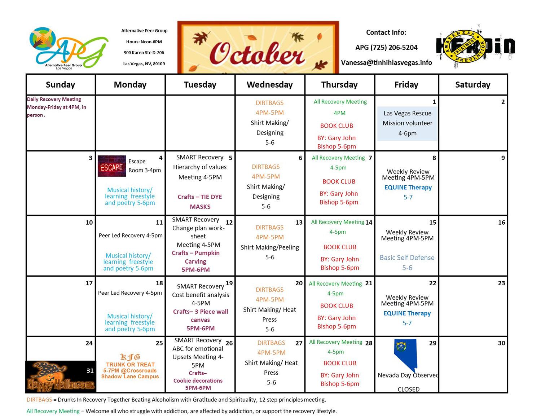 APG Schedule October 2021